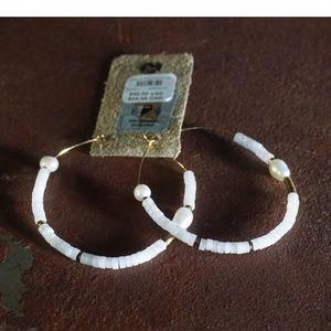 Anthropologie Nico Pearl & Moonstone Hoop Earrings